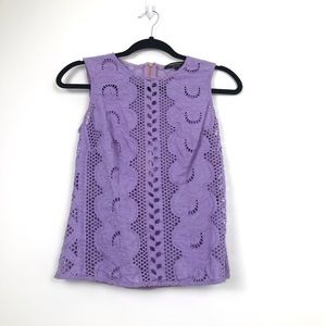 Nanette LePore Lilac Eyelet Sleeveless Zip-up Top